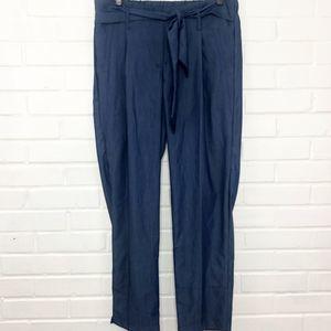 Like an Angel Tie Waist Chambray Pants Blue XL